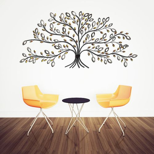 Tree Of Life Floral Wall Art Hanging Iron Sculpture Garden Ornament Leaves Decor