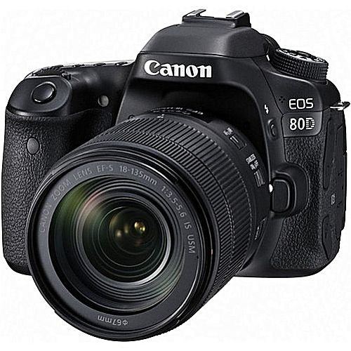EOS 80D Professional DSLR Camera With 18-135mm Lens - Black