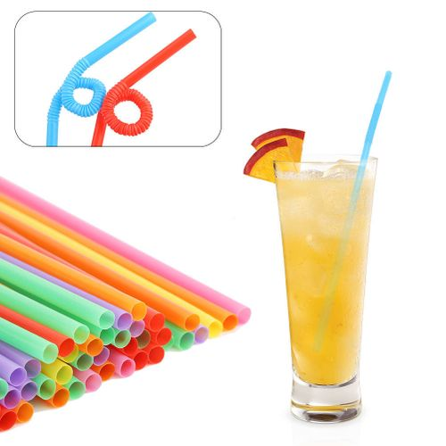 100PCS Colorful Plastic Bendable Drinking Straws Disposable Beverage Straws Mixed Colors