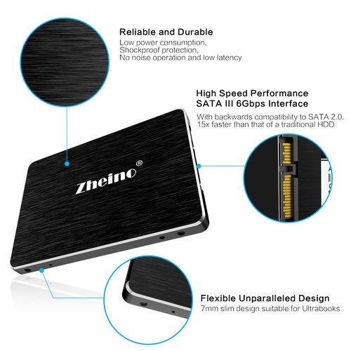 Zheino PS1 USB 3.0 256GB SSD Portable External Hard Drive High Speed 2.5 Inch Solid State Drive For PC Laptop USB Type A-Micro B