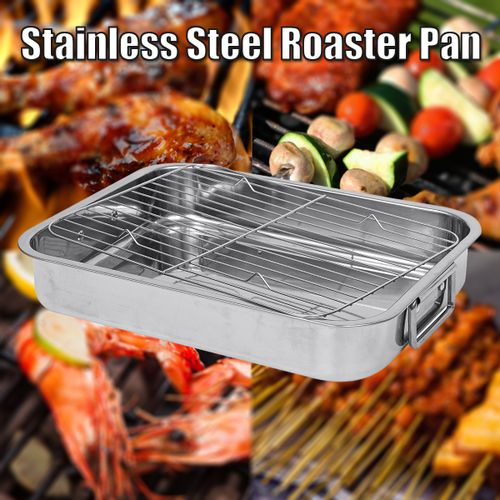 Stainless Steel Roaster & Rack Oven Pan For Chicken Turkey Meat Joints & Veg