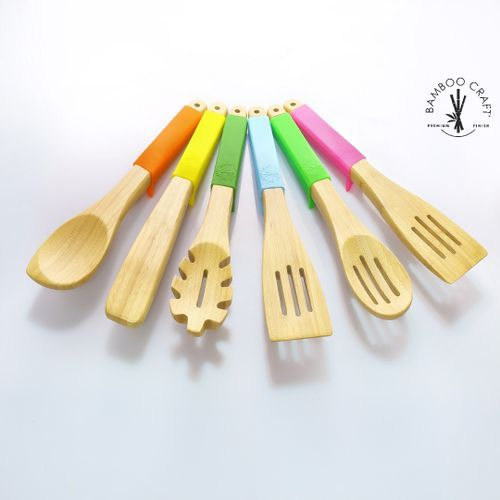7-in-1 Suspend Silicone Handle Bamboo Cooking Utensils Set