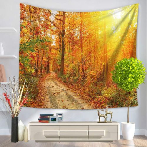 Autumn Tree Leaves Pattern Tapestry Hanging Wall Beach Picnic Blanket Multicolor