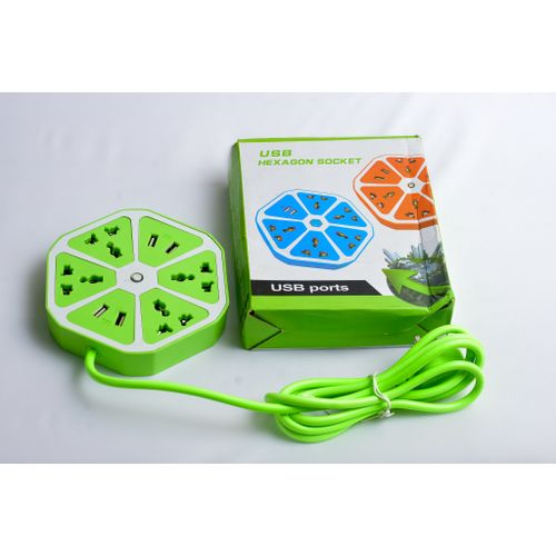 Hexagon Shape Socket Extension Board With 4 USB 2.0 A Charging Points (Green)