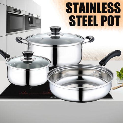 3 Piece Polish Cookware Set Cookinr Fry Pots & Pans Saucepan Stainless Steel