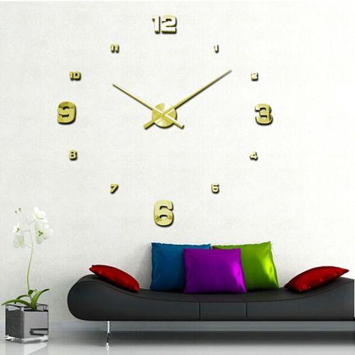 Houseworkhu Luxury 3D DIY Large Wall Clock Mirror Surface Sticker Home Office Decor GD -Golden