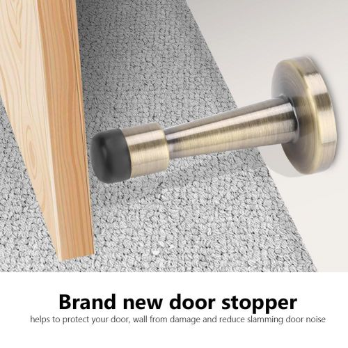 Zinc Alloy + Rubber Anti-Collision Door Stopper Holder Home Hotel Office Accessory Bronze Color