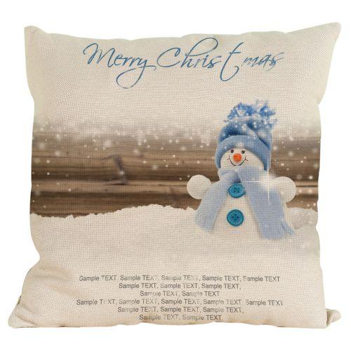 Houseworkhu New Christmas Snowman Cotton Linen Pillow Case Sofa Cushion Cover Home Decor C -Multicolor
