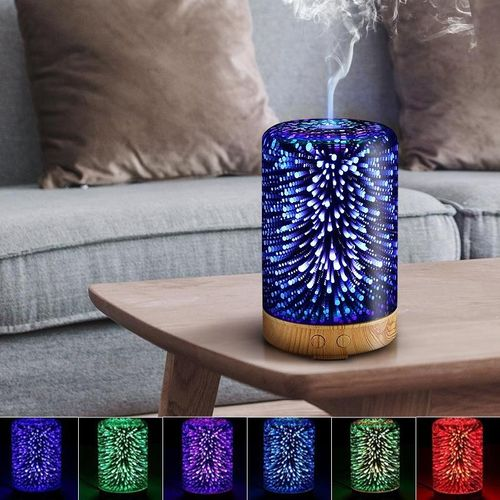 3D Glass Light Essential Oil Aroma Diffuser Ultrasonic Humidifier Aromatherapy EU Plug
