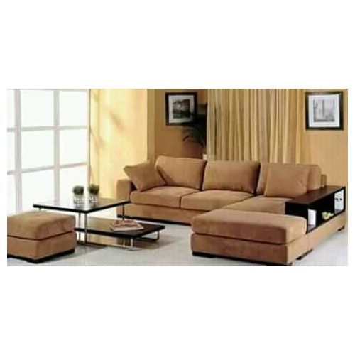 PAWA FURNITURE LIGHT BROWN L-SHAPED 5 SEATER SOFA . Order Now And Get OTTOMAN Free (DELIVERY ONLY IN LAGOS)