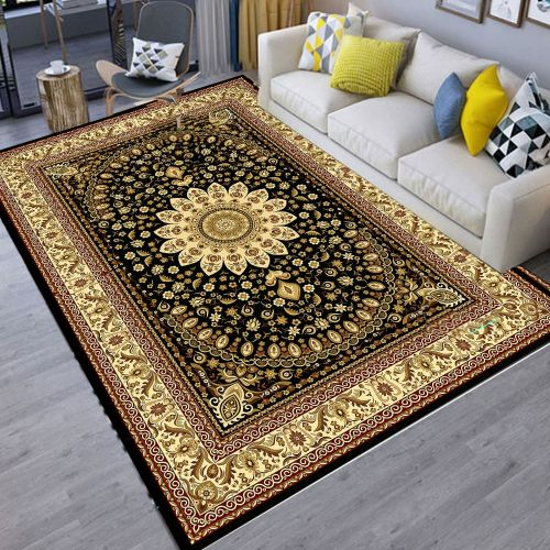 Living Room Floor Mat Modern Vintage Style Thick Soft Anti-slip Mat