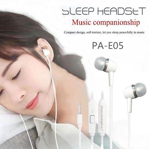 Wired Headset PA-E05 Ear-pod Stereo Music Business Headphone White