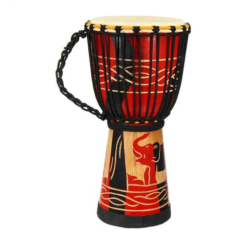 African Hand Drums Small 10 Inch Native Indonesia Imports Handmade Wood Hollow Carved Lijiang Professional Goat Carving