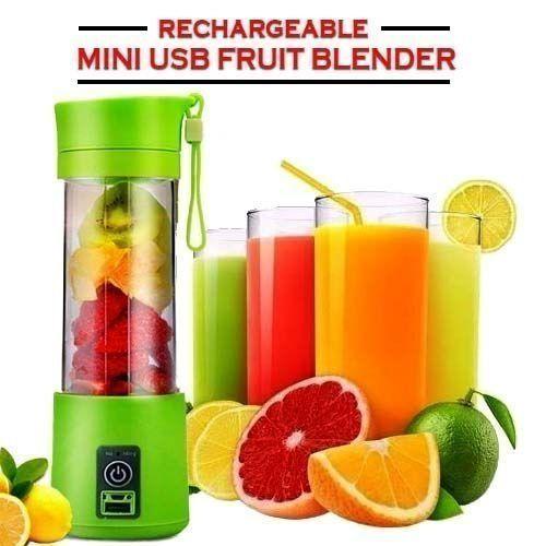 Portable Rechargeable USB Fruit Blender 4 Blades Multicolour