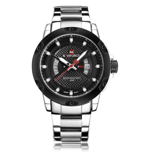 Men's Steel Quartz Analog Waterproof Watch - Black/Silver