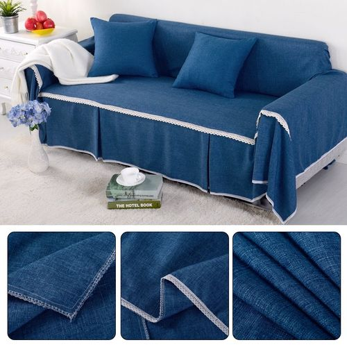 2 Seat 215*260cm Couch Slipcover Linen Fabric Sofa Cover Pillowcase Decoration