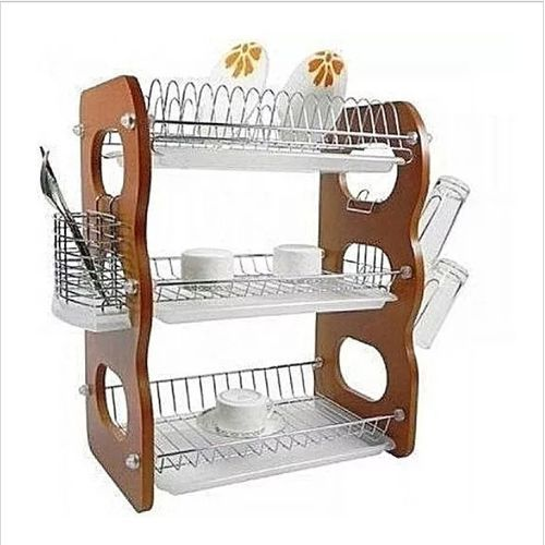 3 Layer Stainless And Wooden Kitchen Plate Rack