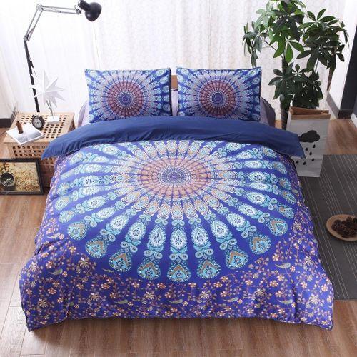 KCASA KC-BC88 3pcs Bed Set Home Mandala Bedding Set Queen Sheets Soft Twill Bohemian Print Duvet Cover With Pillowcases # 175*218cm