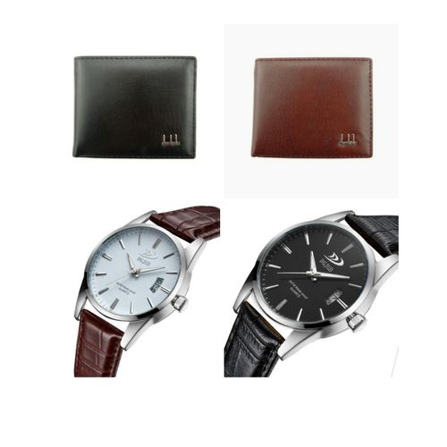 Two One Men's Quality Leather Watches And Two Free Wallets