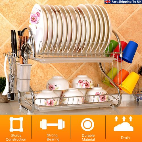 2-Tier Dish Rack Drain Drainer Home Kitchen Cup Dish Drying Plate Cutlery Holder