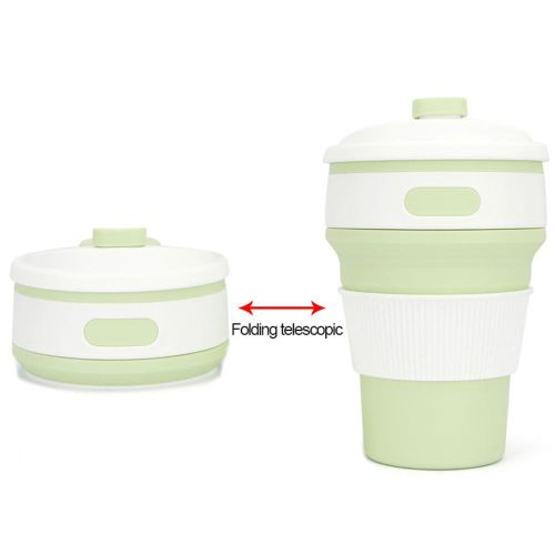 Water Bottles,Foldable 350ML Drinking Cup With Lid Outdoor Travel Office Home
