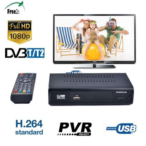 FRASKOO M2 DVB T2 T Digital Terrestrial TV Receiver Full HD 1080P H.264 Set Top Box Support PVR Via USB 2.0 7-days EPG