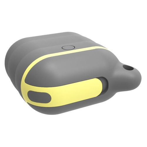 Silicone Case Cover Waterproof Wireless Earphone Protective For AirPods Gray & Yellow