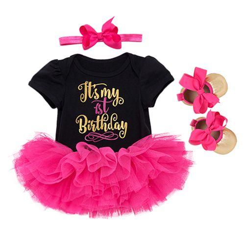 1st Birthday Girl Baby Dress Summer 2018 Cotton Black And White Romper