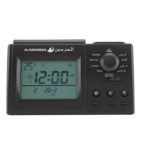 LED Display Digital Alarm Clock Automatic Islamic Muslim Prayer Table Desk Clock (Black)