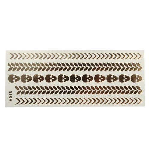 Temporary Metallic Ta Ttoo Gold Silver Black Flash Tat Toos Flash Inspired Sheet H016
