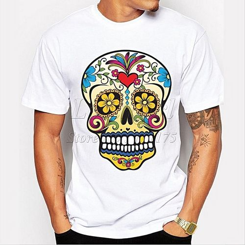 Men's Short Sleeve Gold Tooth Floral Sugar Skull T-shirt