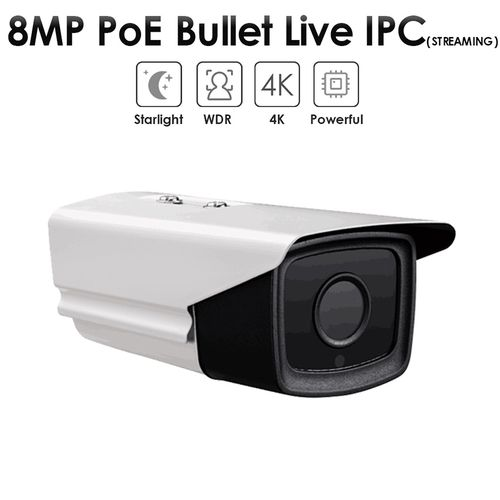 8.0MP Fixed Lens PoE IR Bullet Live Streaming IP Camera