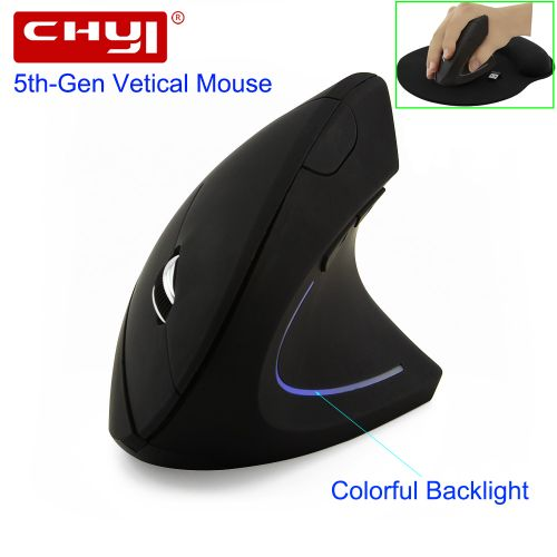 CHYI Wireless Mouse Ergonomic Optical 2.4G 800/1200/1600DPI Colorful Light Wrist Healing Vertical Mice With Mouse Pad Kit For PC-Black