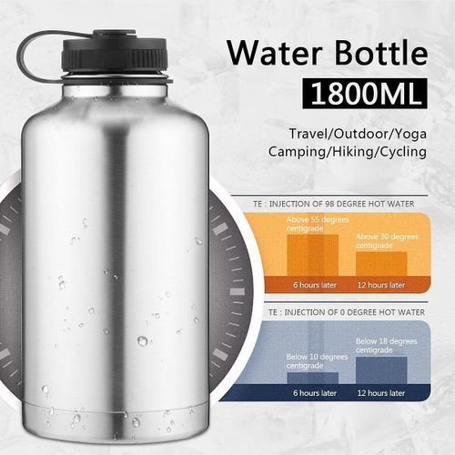 64oz 1.8L Double Wall Vacuum Stainless Steel Insulated Black Water Bottle Cup
