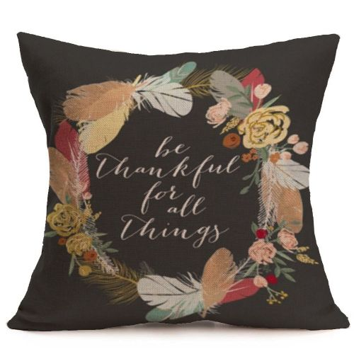 Happy Fall Thanksgiving Day Soft Linen Pillow Case Cushion Cover Home Decor