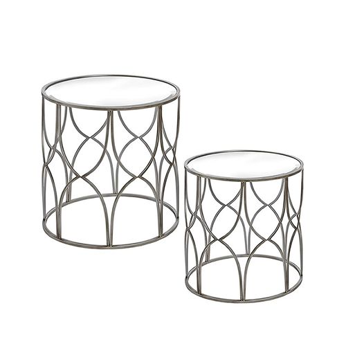 Silver Mirrored Side Tables