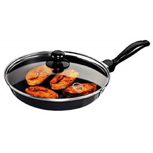 Large- Non Stick Kitchen Cooking Fry Pan With Glass Cover