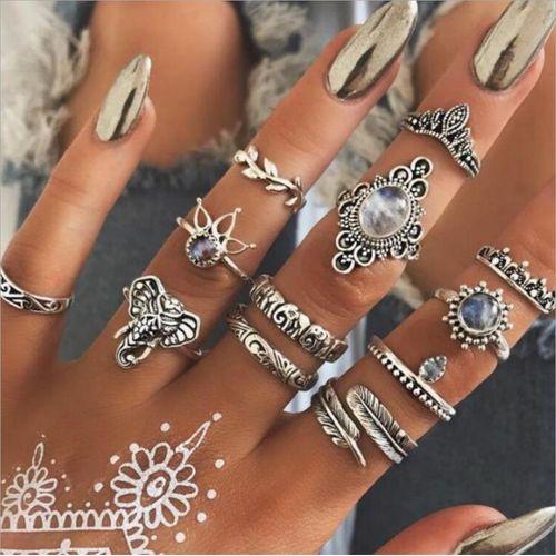 12PCS/set Vintage Engraved Geometric Totem Lady Set Ring