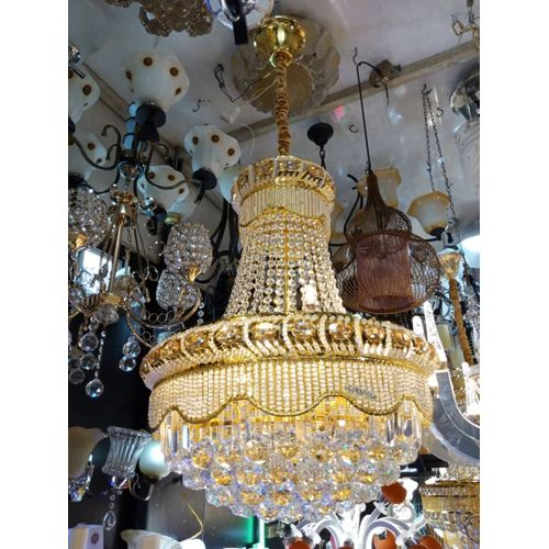 Crystal Chandelier Gold With LED Bulbs