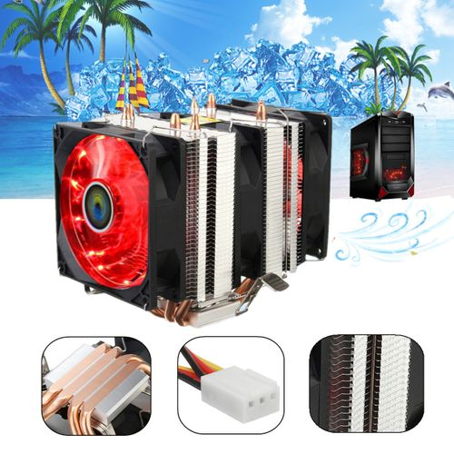 LED 3 Fan CPU Cooler Heatsink For Intel LGA775 /1155 /1150 /1151 AMD AM4
