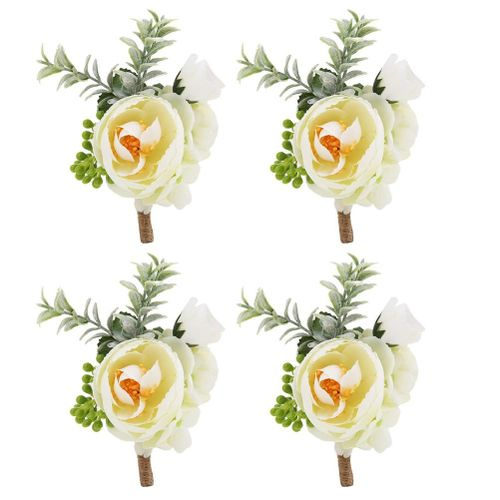 4 Pcs Pink Wedding Corsage Boutonniere Bracelet Artificial Flower White Bodice Handmade Bride Bride Brooch Brooch For Wedding Suit Decoration
