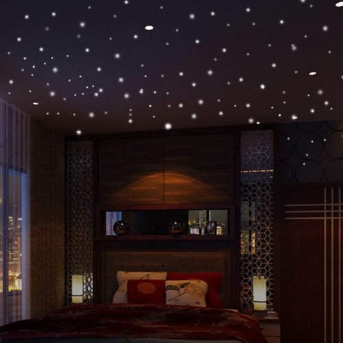 Fohting Glow In The Dark Star Wall Stickers 407Pcs Round Dot Luminous Kids Room Decor -Green