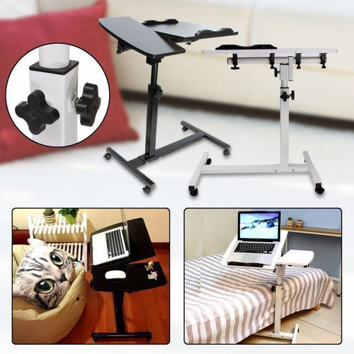 Laptop Adjustable Portable Table Desk Stand Lap Sofa Bed Tray Computer Notebook-White
