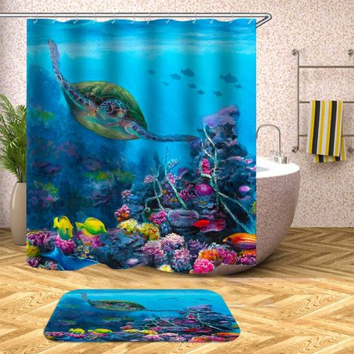 Swimming Turtle Non-Slip Rug Toilet Lid Cover Bath Mat Shower Curtain With Rings