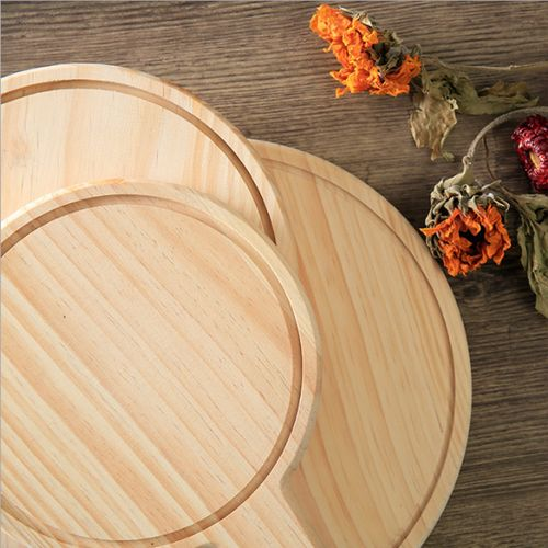 Round Pizza Peel Wood Paddle Board Tray Bread Maker Serving & Cuting Kitchen
