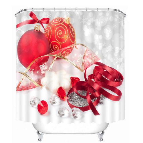 3D Christmas Waterproof Polyester Bathroom Shower Curtain Decor With 12 Hooks Q