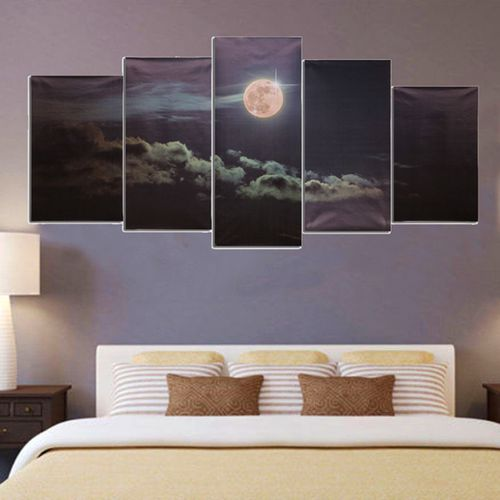 Canvas Prints Moon Night Clouds Wall Art Split Picture Unframed