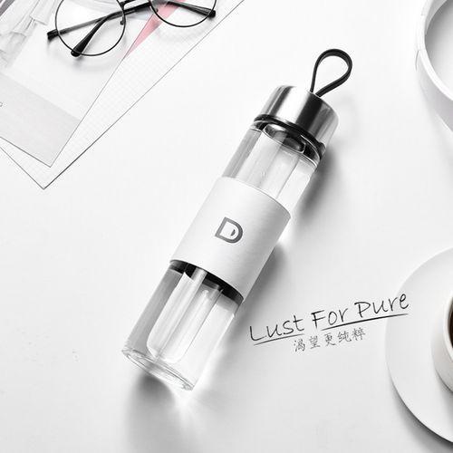 Portable Transparent Glass Water Bottle