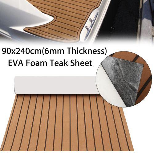 Self-Adhesive EVA 6mm Faux Foam Teak Sheet Boat Decking Floor Mat Pad 90x240cm