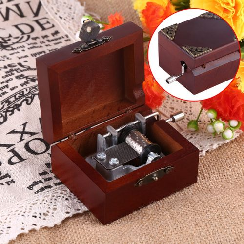 6 Songs Wood Vintage Classical 8 Note Hand Crank Music Box Musical Movement Gift